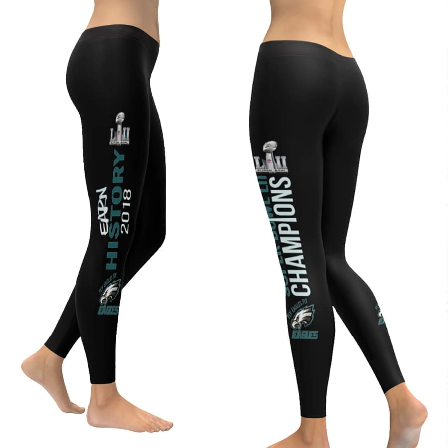 Philadelphia Eagles Leggings | Super Bowl Yoga Pants Black - XXS