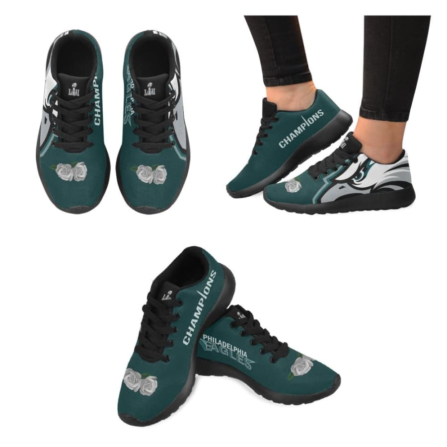 Philadelphia Eagles Shoes Mens Womens Kids| White Rose Sneakers - Sneaker (Model 020) / US5 / Man