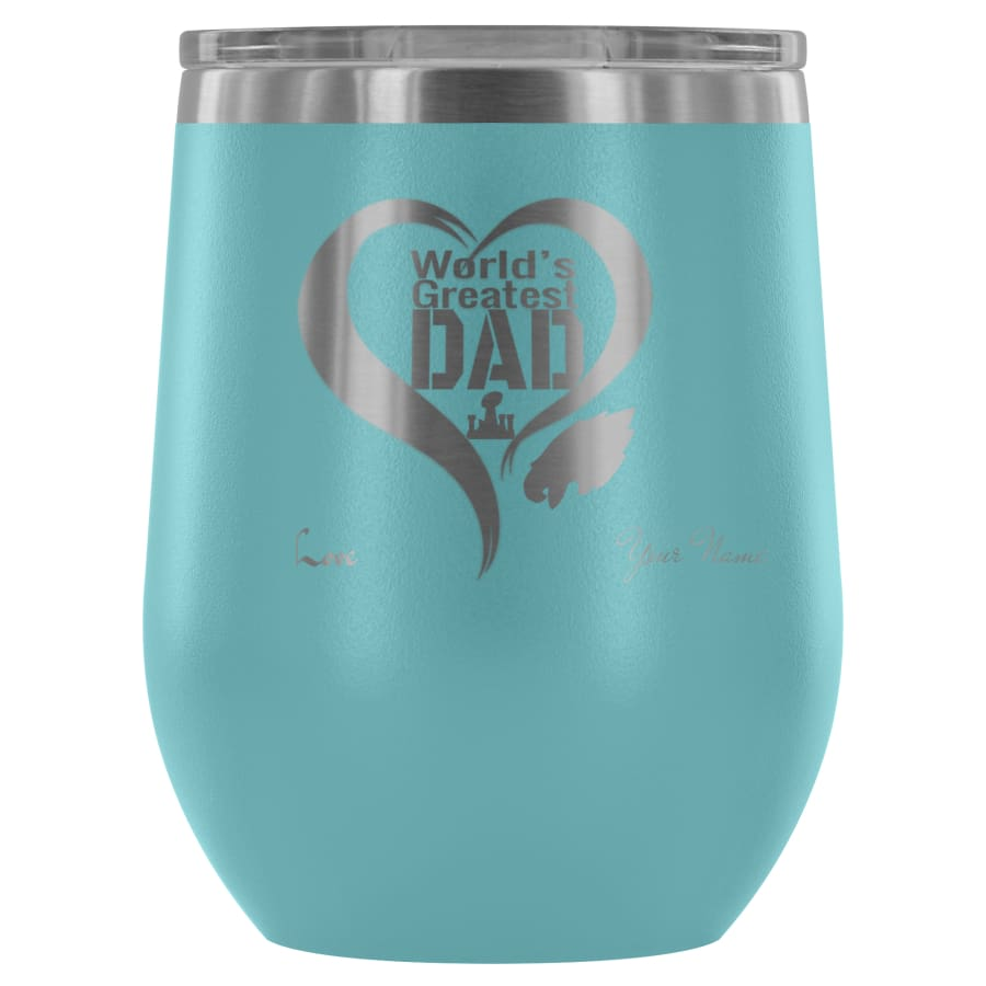 Philadelphia Eagles Worlds Greatest Dad Laser Etched Wine Tumbler - A Father Gift - Personalized - Light Blue