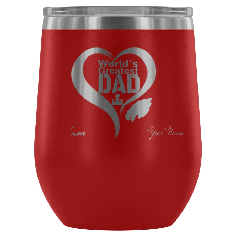 Philadelphia Eagles Worlds Greatest Dad Laser Etched Wine Tumbler - A Father Gift - Personalized - Red