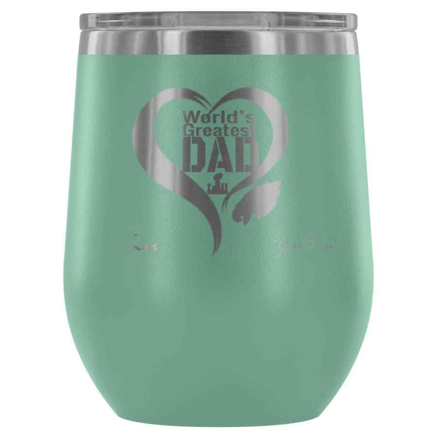 Philadelphia Eagles Worlds Greatest Dad Laser Etched Wine Tumbler - A Father Gift - Personalized - Teal