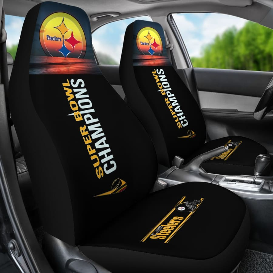 Pittsburgh Steelers Car Seat Covers 2pcs | Super Bowl Champs