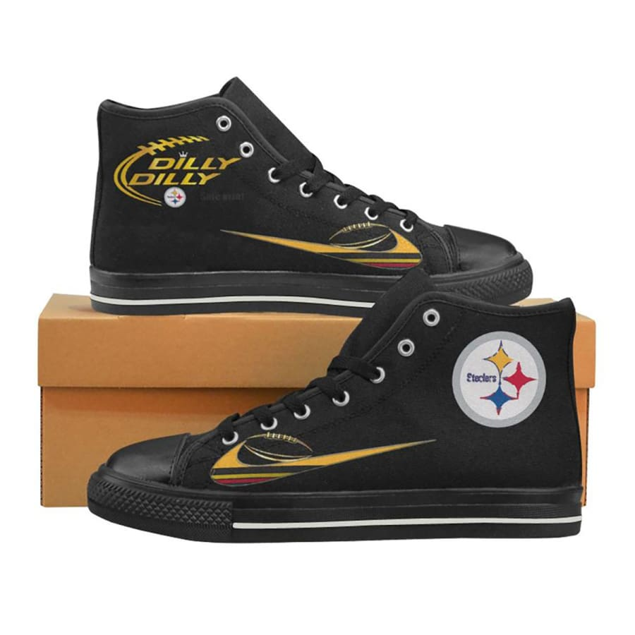 Pittsburgh Steelers Dilly High Top Sneaker Black Yellow Men Women Kids - Aquila Canvas Shoes (Model017) / US2 / Kid