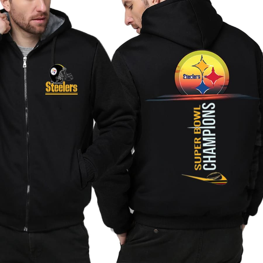 Pittsburgh Steelers Jacket| Fleece Varsity Jackets| Pullover (4 Colors) - Black / XXL