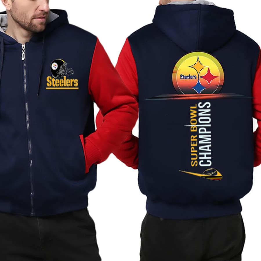 Pittsburgh Steelers Jacket| Fleece Varsity Jackets| Pullover (4 Colors) - Blue Red / XXL