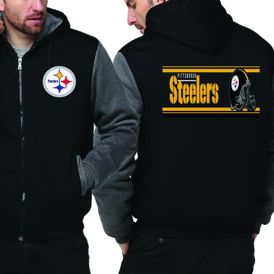 Pittsburgh Steelers Jacket|Steelers Varsity Jackets|Pullover (4 Colors) - Black Gray / XXL