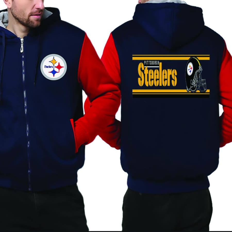 Pittsburgh Steelers Jacket|Steelers Varsity Jackets|Pullover (4 Colors) - Blue Red / XXL