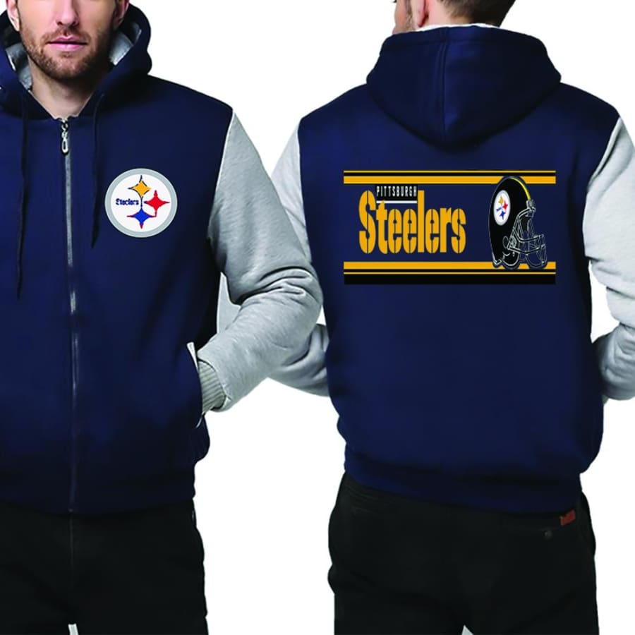 Pittsburgh Steelers Jacket|Steelers Varsity Jackets|Pullover (4 Colors) - Blue White / XXL