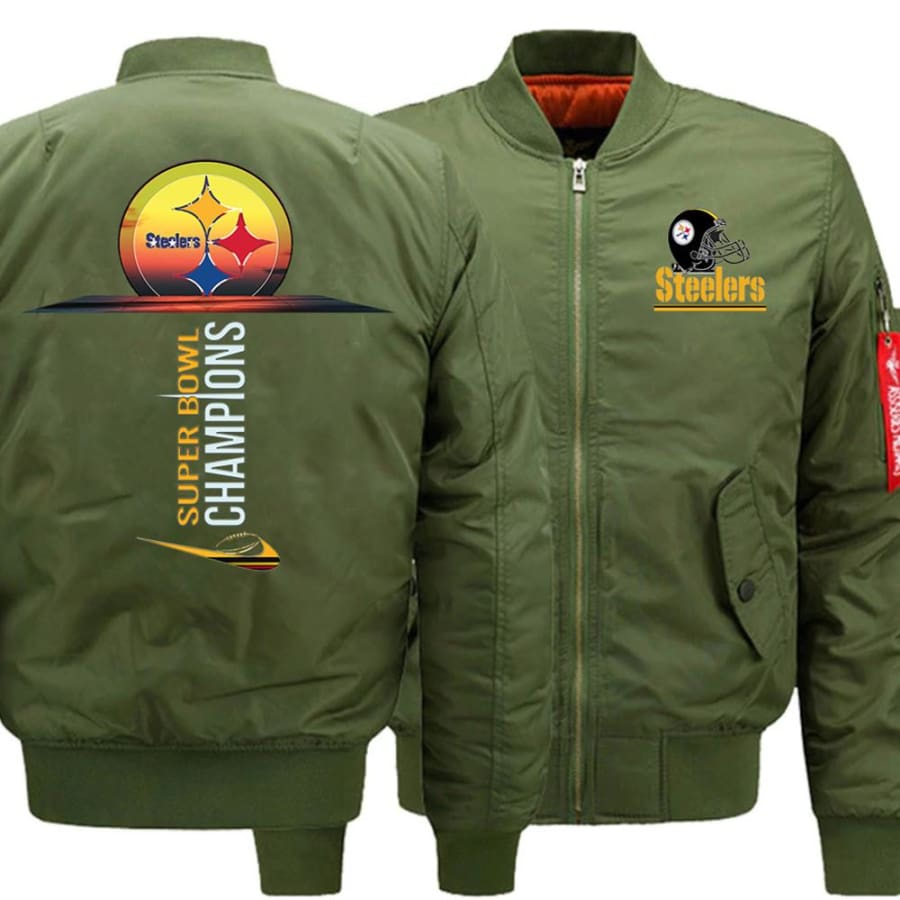 Pittsburgh Steelers Ma-1 Bomber Jacket| Super Bowl Varsity Jackets (3 Colors) - Army Green / XL