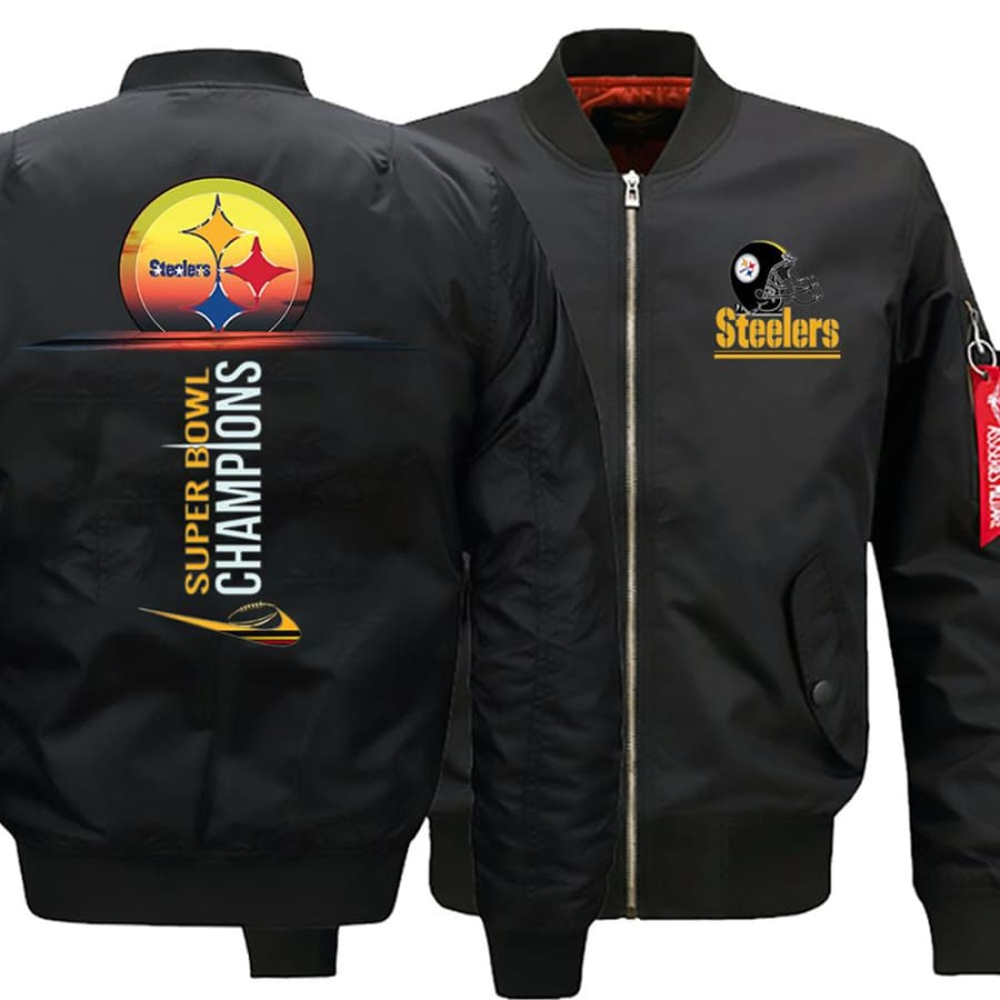 Pittsburgh Steelers Ma-1 Bomber Jacket| Super Bowl Varsity Jackets (3 Colors) - Black / XL