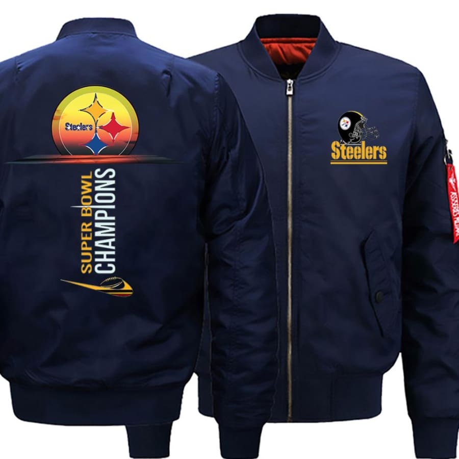 Pittsburgh Steelers Ma-1 Bomber Jacket| Super Bowl Varsity Jackets (3 Colors) - Dark Blue / XL