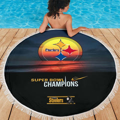 Pittsburgh Steelers Super Bowl Champs Round Beach Blanket | Picnic Blanket