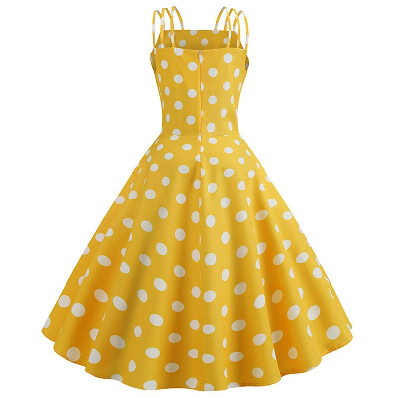 yellow polka dot fit and flare dress