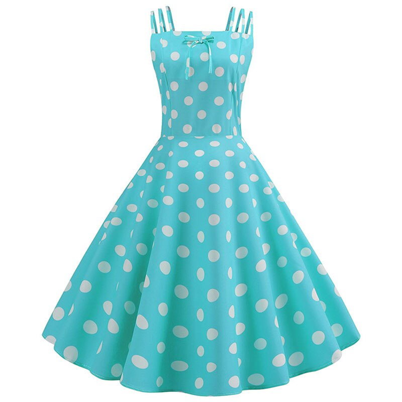 white polka dot kelly green fit and flare dress