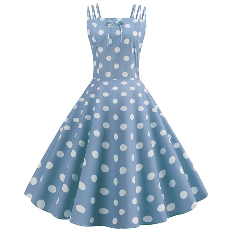 white polka dot blue fit and flare dress