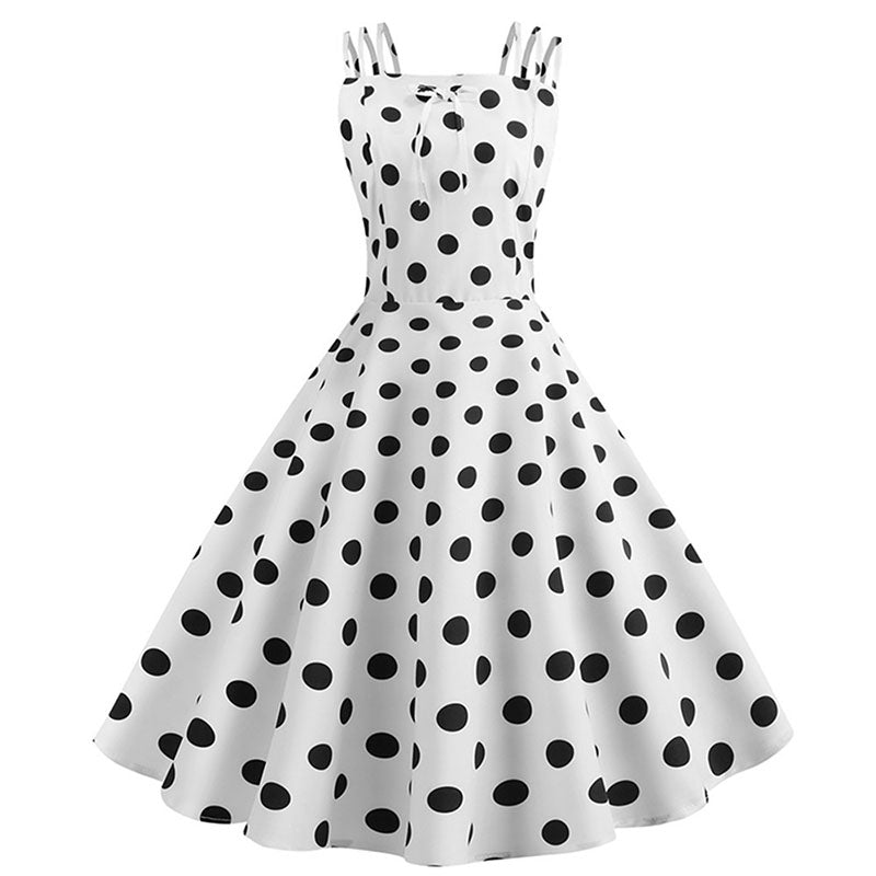 Black polka dot white midi dress