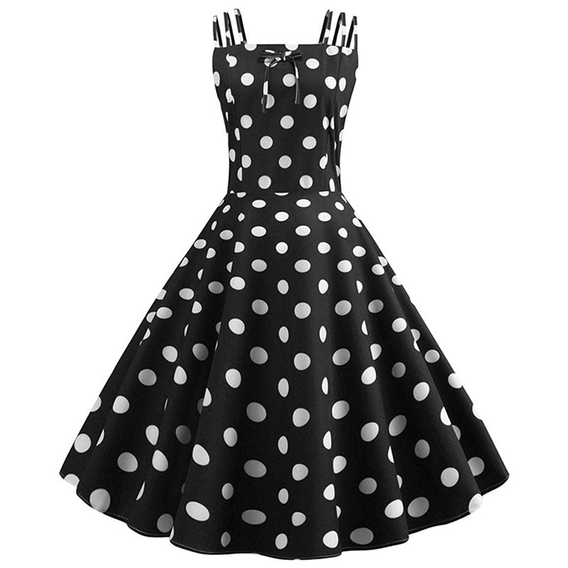 White polka dot black midi dress