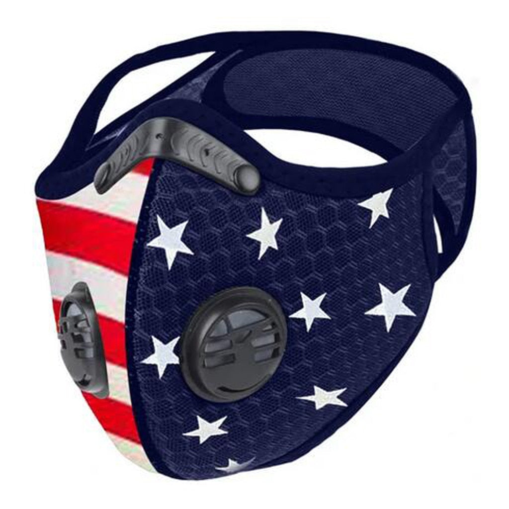 American Flag Sports Mask with 5-Layer PM2.5 Filter & Valves Mens Womens Cycling Mask Ship from USA