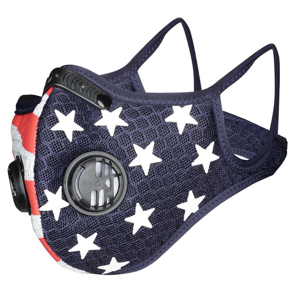 US Flag Sports Mask with 5-Layer PM2.5 Filter & Valves Mens Womens Cycling Mask Ship from USA