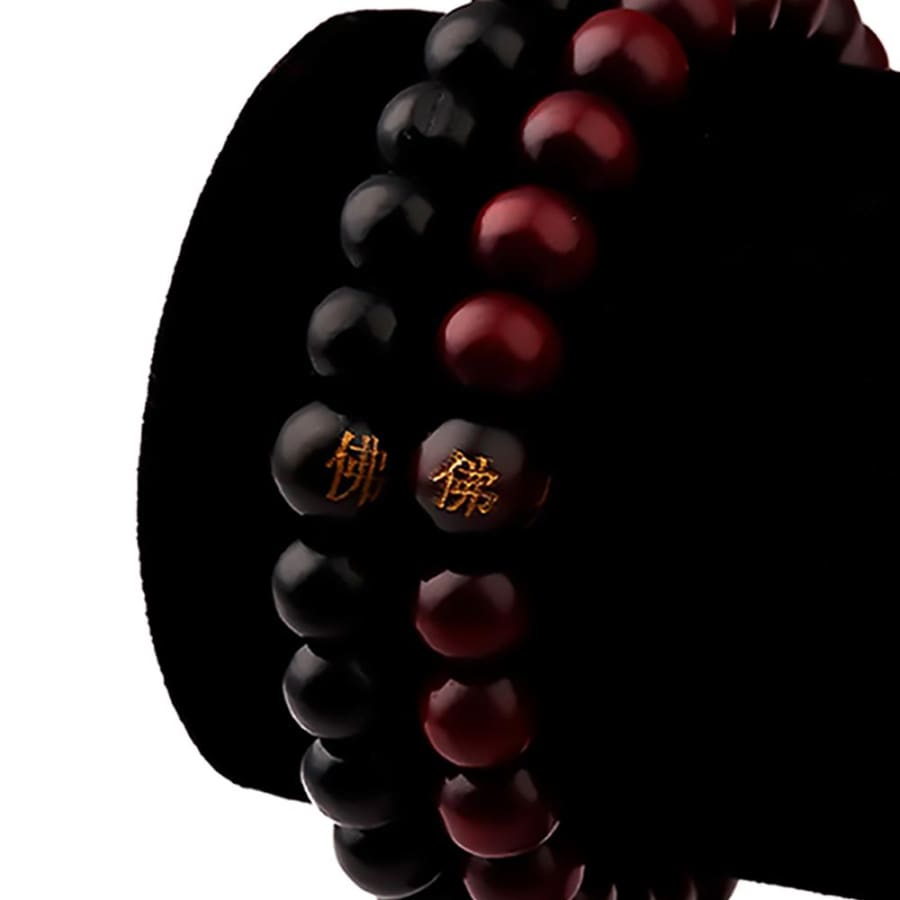 Sandalwood Prayer Bead Bracelets For Men Women Meditation Healing - 1 black and red