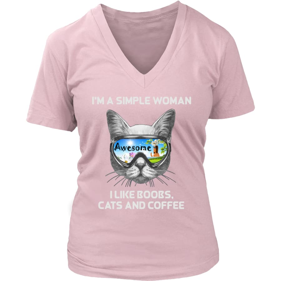 Simple Woman - Cute Cat Lover V-Neck T-shirt (8 colors) - District Womens / Pink / S