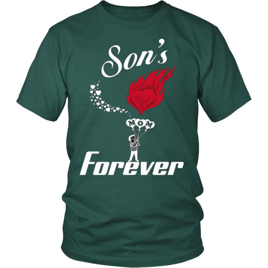 Sons Love For Mom Forever Unisex T-Shirt (13 colors) - District Shirt / Dark Green / S