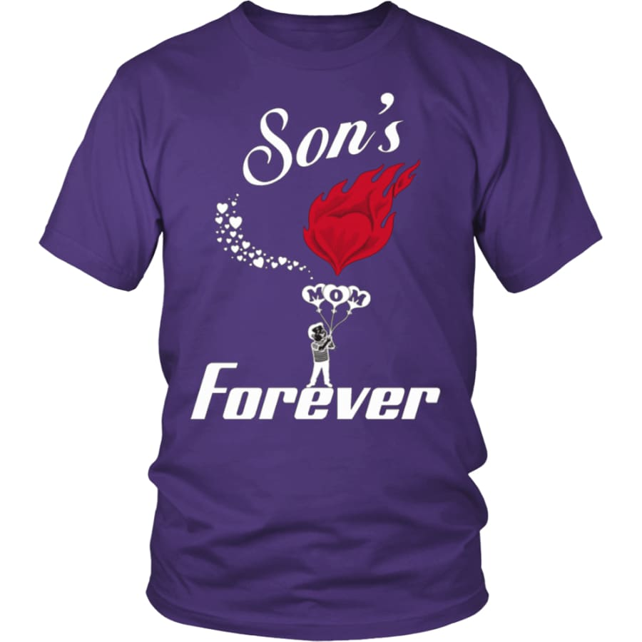 Sons Love For Mom Forever Unisex T-Shirt (13 colors) - District Shirt / Purple / S