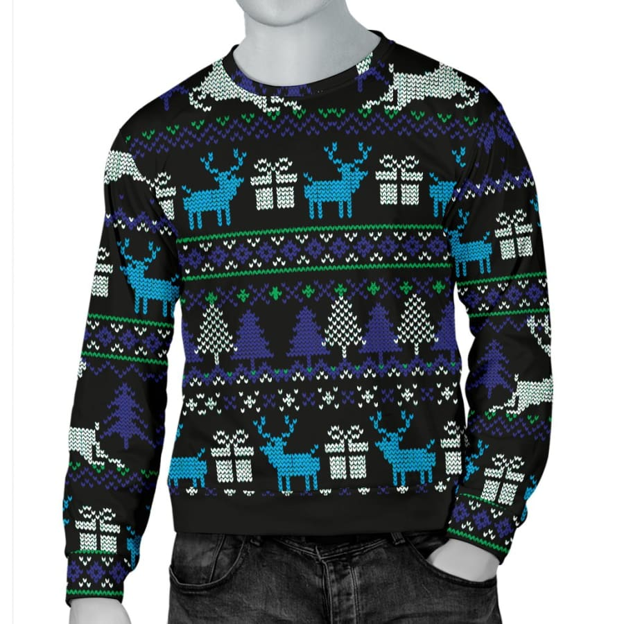 Ugly Christmas Black Purple and Blue Mens Sweater