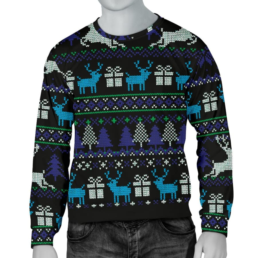 Ugly Christmas Black Purple and Blue Mens Sweater - S