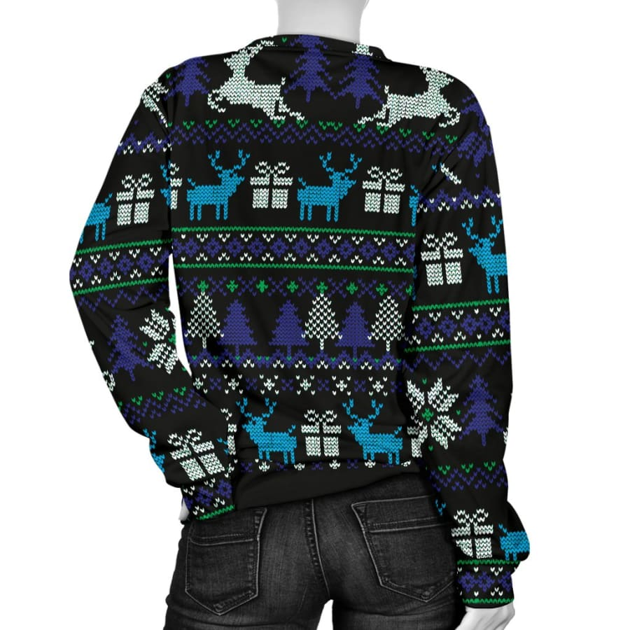 Ugly Christmas Black Purple and Blue Womens Sweater