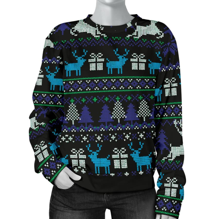 Ugly Christmas Black Purple and Blue Womens Sweater - XS