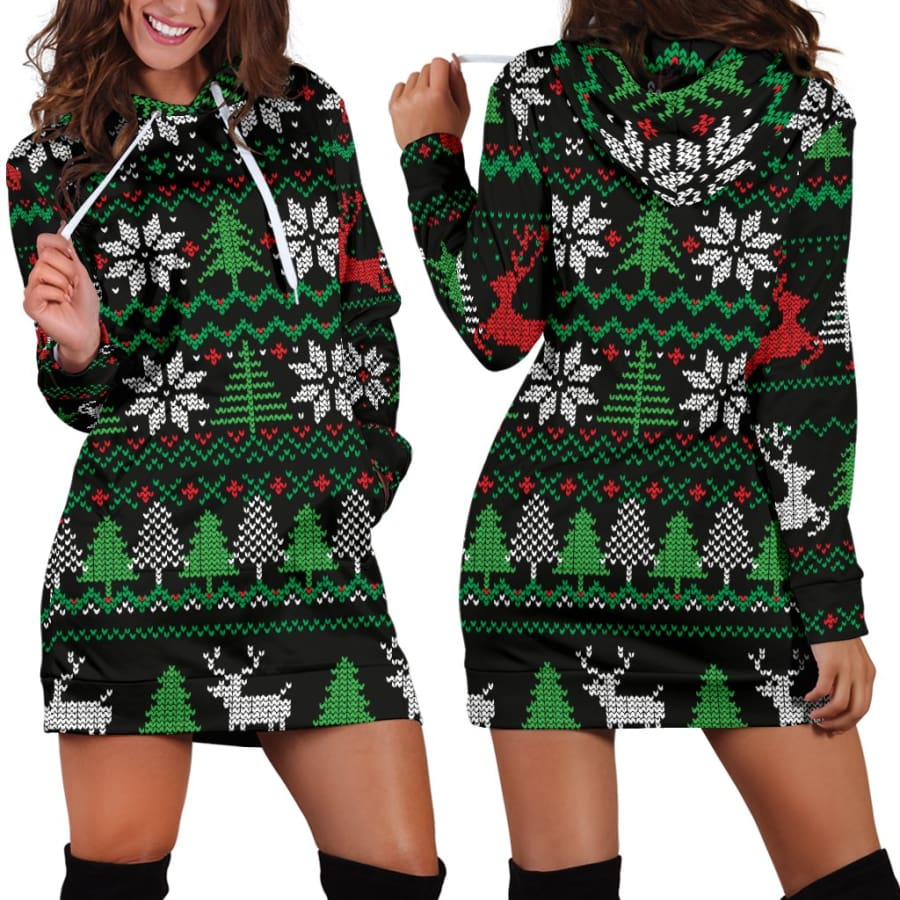 Ugly Christmas Red Green Black Hoodie Dress - Womens / XS