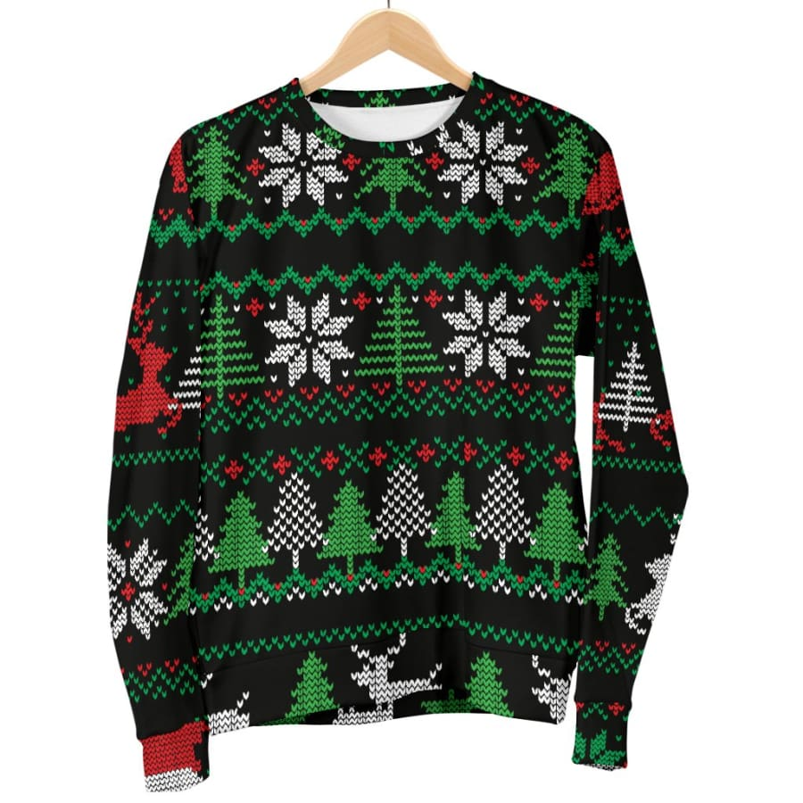 Ugly Christmas Red Green Black Womens Sweater