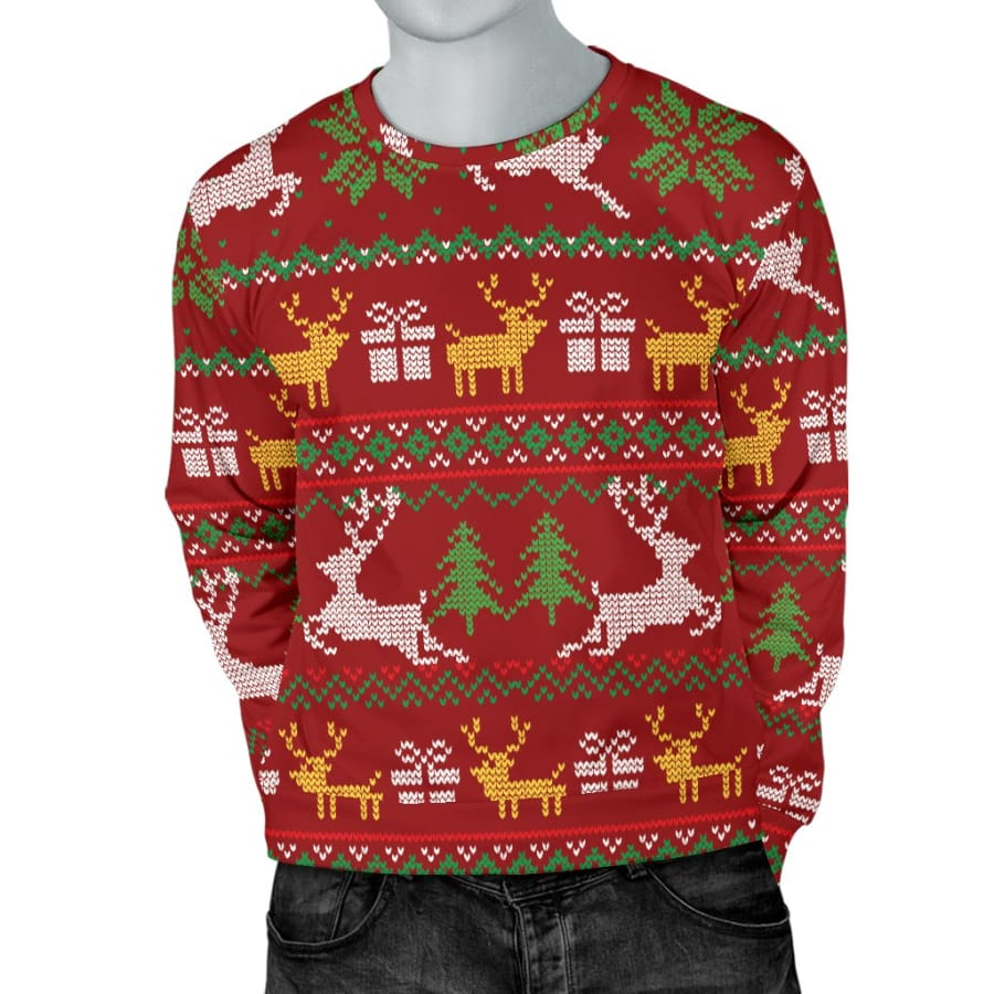 Ugly Christmas Red Yellow Green Mens Sweater