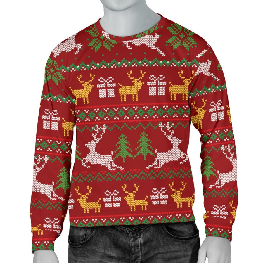 Ugly Christmas Red Yellow Green Mens Sweater - S