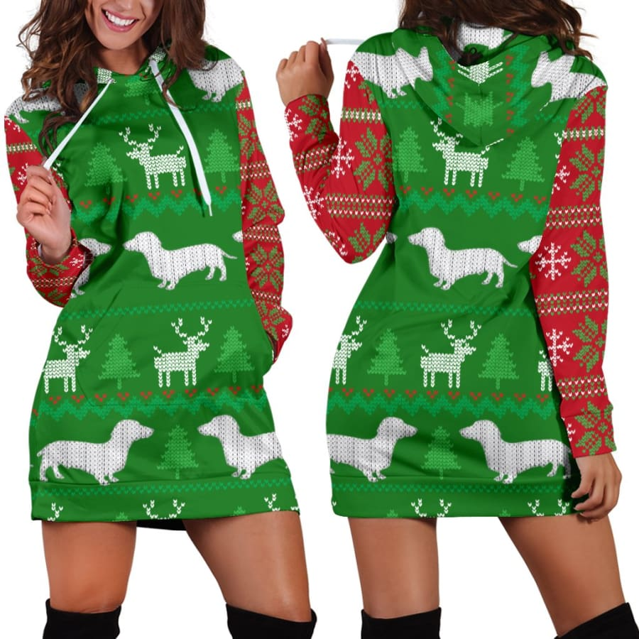 Ugly Christmas Sweater Hoodie Dress With Dachshunds - Womens / XS