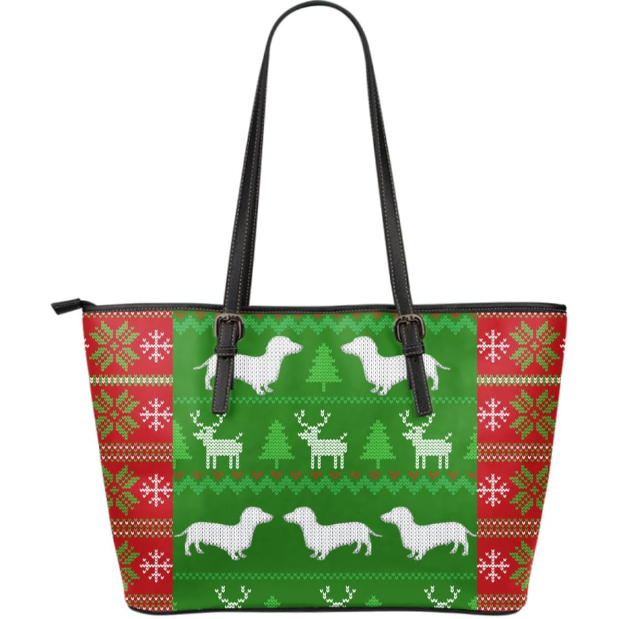 Ugly Christmas Sweater Large Leather Dachshunds Tote Bag - With