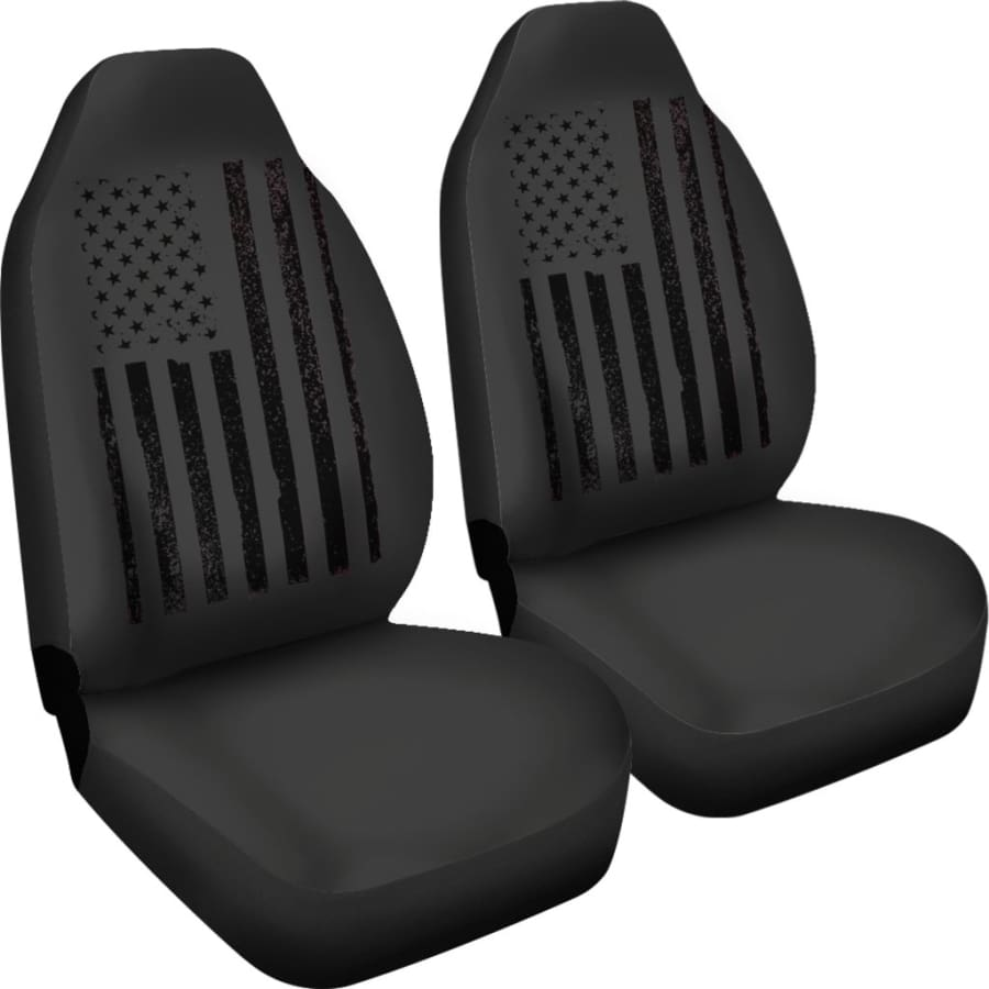 USA Flag Black Car Seat Covers Set - July 4th Gift