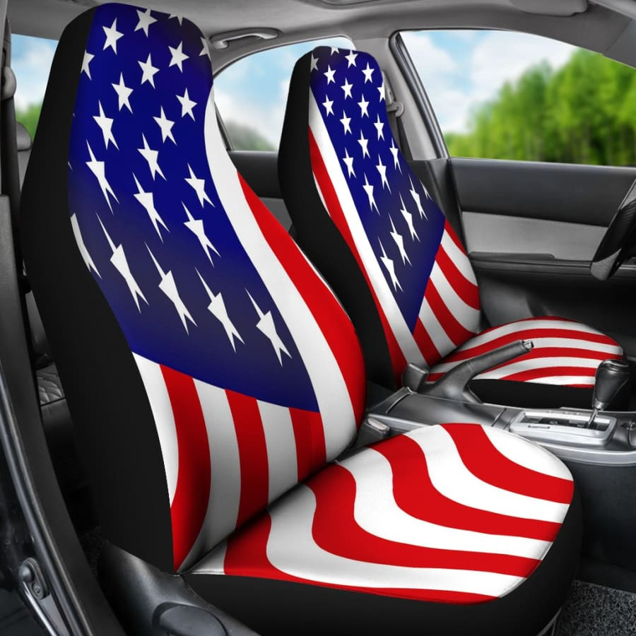 USA Flag Car Seat Covers Set - July 4th Gift