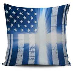 USA Flag Cross Pillow Cover