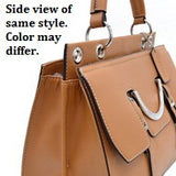Women's Briefcase Style Fashion Satchel with Belted and Half Ellipse Accent - Beige