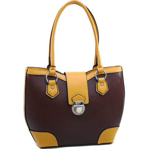 Dasein Classic Two Tone Shoulder Bag w/ Buckle Snap Accent - Coffee/Yellow