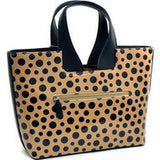 Dasein Glossy Polka Dot Satchel With Faux Leather Trim - Tan