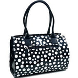 Dasein Convertible Faux Leather Trimmed Glossy Polka Dot Satchel - Black