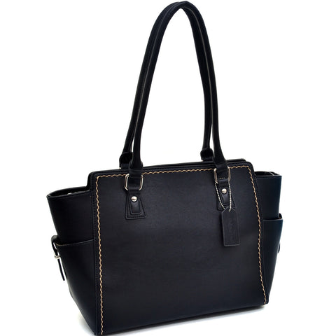 Dasein Classic Stitched Faux Leather Shoulder Bag - Black