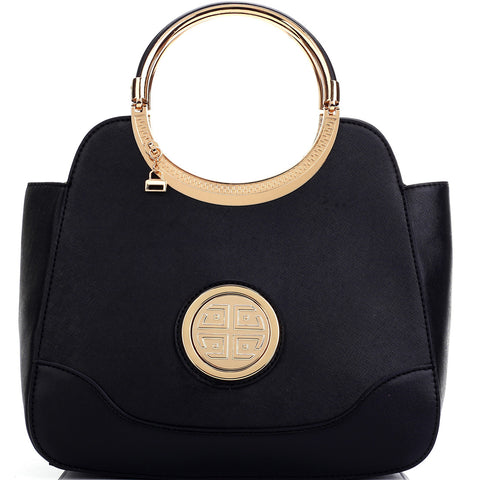 Dasein Hinged Handle Winged Satchel with Removable Shoulder Strap - Black