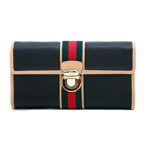 Anais Gvani Classic Two-Tone Tri-fold Wallet w/ Buckle & Stripe Accent - Black