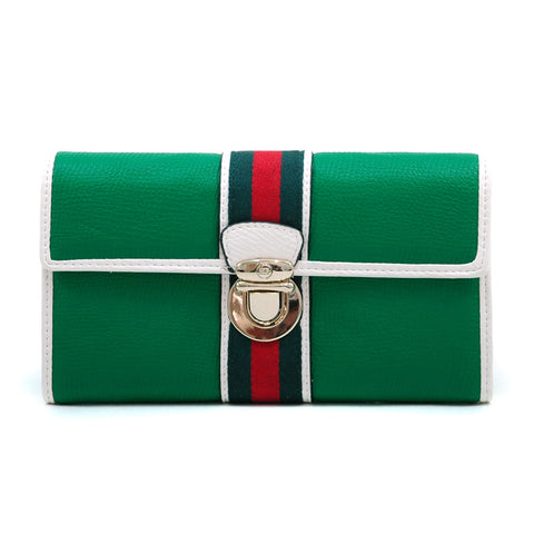 Anais Gvani Classic Two-Tone Tri-fold Wallet w/ Buckle & Stripe Accent - Green