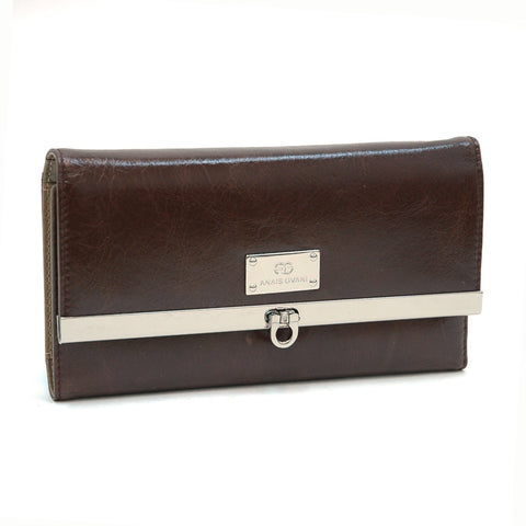 Anais Gvani Classic Genuine Italian Leather Checkbook Wallet - Brown(Deep Beige)