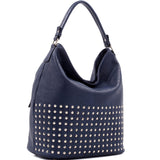 Large Concealed Carry Faux Leather Studded Hobo Bag